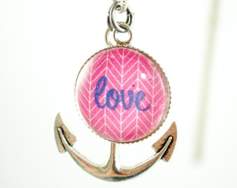Love is an Anchor Charm Necklace - Valentine's Necklace, Love Charm Necklace, Nautical, Cruise Jewelry