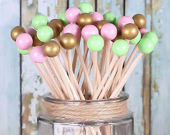 Light Pink, Mint & Gold Lollipop Sticks, Cake Pops Sticks, Rock Candy Sticks, Wedding Cake Pops, Baby Shower, Wooden Skewers (12)