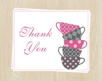 Tea Cup Thank You Cards, Pink and Gray, Sip & See, Shower, Birthday, Thank You Notes, Tea Cup, Set of 24 Printed Cards, FREE Ship, SASGL