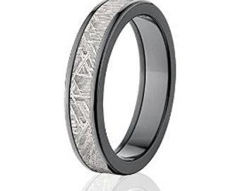 Dark Black Zirconium and Meteorite Rings w/ Comfort Fit: Meteorite-Ring-5F-Z