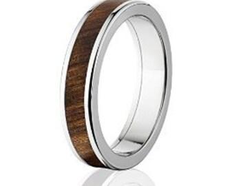 New Tamboti Wood Rings, Exotic Hard Wood Wedding Band w/ Comfort Fit: 5F_Olive Wood