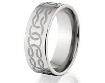 Custom Lasered Celtic Ring Made In Titanium, Celtic Wedding Bands: 8F-C4L
