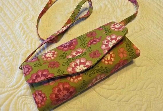 Handmade Necessary Wallet Clutch Purse Pink and Green Free Shipping