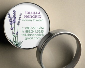 Lavender - 50 CUSTOMIZABLE Round Calling Cards/ Business Cards/ Tags in Tin