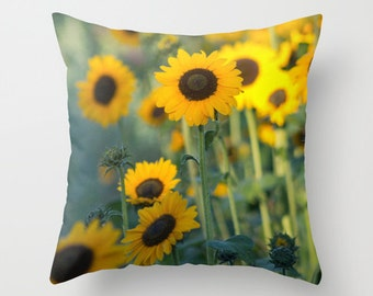 Photo pillow cover, sunflowers decorative pillow, summer sun throw pillow, yellow and brown pillow, flower pillow, living room decor