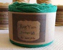 Cotton Rag Yarn, Rag Ribbon, Shamrock Green, Cotton
