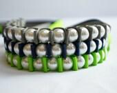 Pearl Bracelet. Sallie Ribbon Bracelet Trio.SEAHAWKS. Lady Super Fan. Fashion Jewelry. Football. Sports Fanatic. Stocking Stuffer.