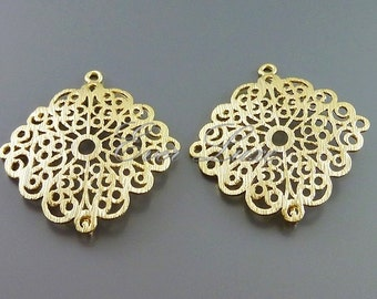 2 elegant textured filigree jewelry connectors, brass metal findings, jewelry making, craft supplies 1027-MG (matte gold, 2 pieces)