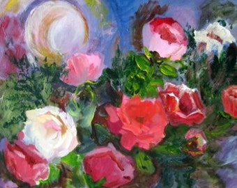 """Painting of """"STRAW HAT and ROSES"""" reproduced on notecard"""