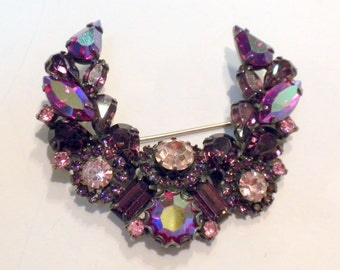 Purple Rhinestone Brooch with Pink and Red Aurora Borealis Accents