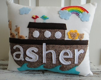 Noah's Ark Themed Custom Personalized Baby Toddler Pillow Bedding