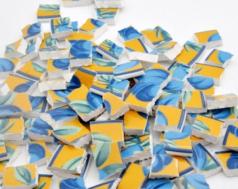 Broken China Mosaic Tiles - Blue and Yellow - Plums - Recycled Plates -  Set of 100