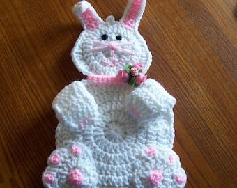 Crocheted Easter Girl Rabbit Kitchen Decor /  Wall hanging / Potholder