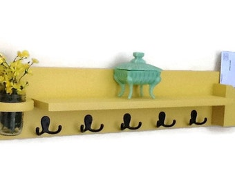 Coat Rack Shelf with Mail Holder - Coat Hooks - Jar Vase - Painted Wood Shelf - Wild Wheat