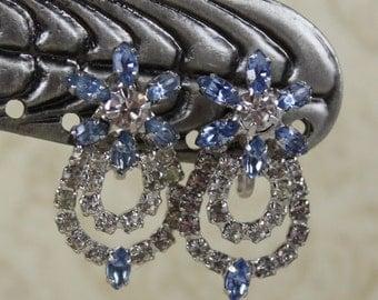 Vintage Sky Blue Flower Loop Rhinestone Silver Screw Back Earrings