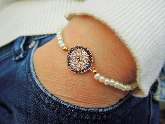 Turkish Evil Eye Bracelet Tennis Bracelet Fresh Water Pearl