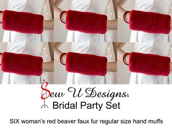 Red faux fur Bridal party set of SIX woman's hand muffs winter wedding hand warmers