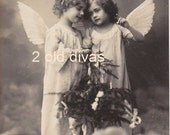 1920s French Photo/Postcard Christmas Angels Instant Download