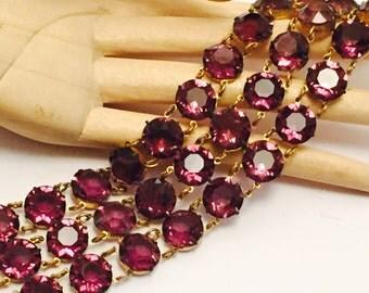 Stunning Art Deco Purple Amethyst Open Back Crystal Festoon Bib Vintage Art Deco Bracelet