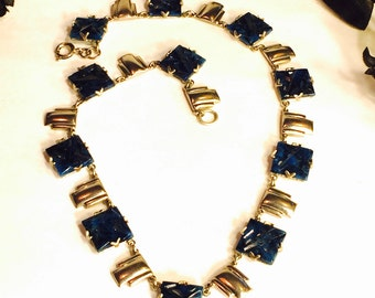 Beautiful 1920s Art Deco Geometric Carved Lapis Blue Art Glass Chevron Silver Vintage Necklace Art Deco Jewelry