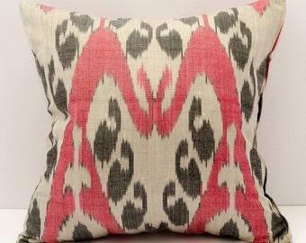 15x15 ikat pillow cover, cushion case, red pillows, red black pillow, red black cream cushion, pillowcase,sofa pillow, decorative pillow
