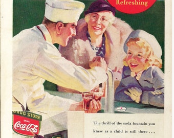 1937 COKE COCA COLA Vintage Ad, Original Back Cover Illustration from April 1937 National Geographic Magazine