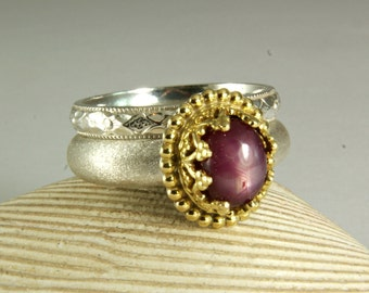 Pink Star Sapphire Ring, Two Tone Jewelry, Wedding Set, Sapphire Engagement Ring