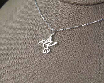 Hummingbird charm necklace in sterling silver, sterling silver hummingbird, silver bird charm, hummingbird necklace