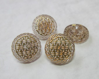 Set of Clear and Gold Glass Buttons