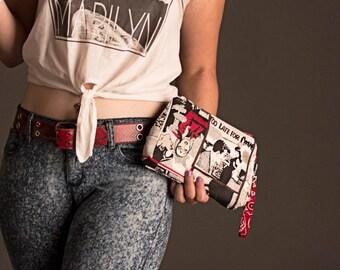Pop Art Clutch, Cartoon clutch, Pop art zipper bag, Rockabilly wristlet,Small Zipper pouch, Handmade bag, red black purse,caroljoyfashions75