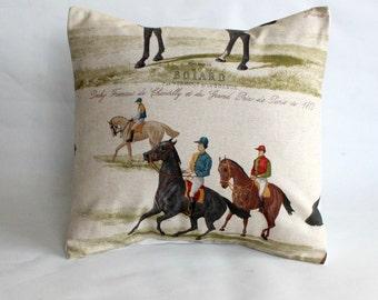 Decorative pillow Horse design black brown blue throw pillow cover cushion shams designer fabric One 16 inch jockey rider
