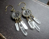The Ruins Earrings. Pink and green tourmaline Quartz and Glyph like antiqued silver concha stampings
