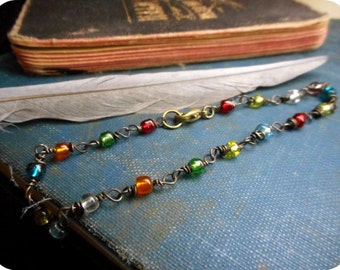 BEWITCHED tempest // Handwrapped Handmade Gothic Boho Antiqued Brass and Multi colored Glass Bracelet
