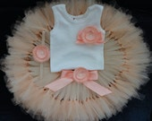 Sweet Peach Baby Tutu Dress Outfit, Baby Girl Birthday Dress