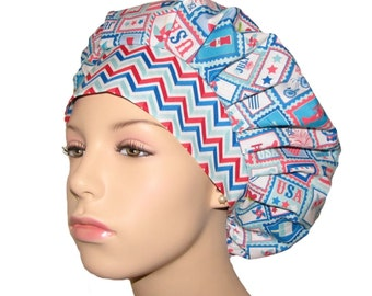Scrub Hats - 4th Of July Star Spangled Stamps
