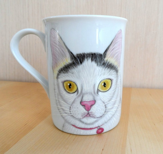 Cat Portrait  Mug - Hand painted Cup ,  gift for pet lovers, cat lovers - On Sale!