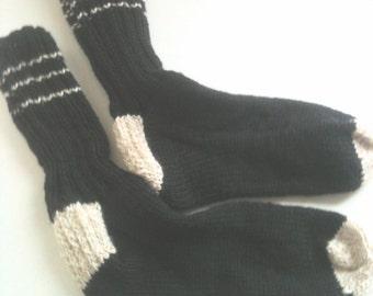 Wool Socks, Knit, Mens, Dads, Granddads, Boyfriend, Black, Tan - Made to Order