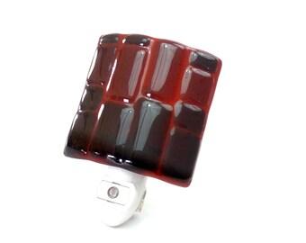 Night Light, Rust Red Stained Glass, Contemporary Plugin Lighting
