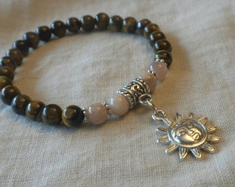 Sunstone and Tigers Eye Bracelet with Sun Charm; Healing, Yoga, Meditation, Japa, Mala, Energy