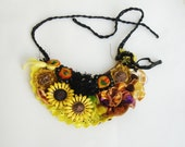 Yellow Fabric statement necklace, felt  beaded bib necklace, textile collar wearable art
