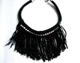 Black Fringe necklace, statement necklace
