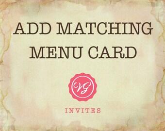 Add Matching Menu Card