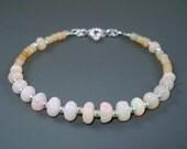 Opal Bracelet, Large Pastel Color White Ethiopian Fire Opals and Sterling Silver Bracelet, Fire Opal Bracelet, Fire Opal Jewelry ON SALE