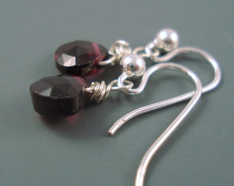 Garnet Gemstone Earrings with Sterling  Silver, Tiny Garnet Heart Brios and Hook Wires