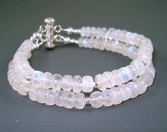 Moonstone Bracelet with Smooth Rainbow Moonstone Rondelles and Sterling Silver, Double Strand Cuff Style