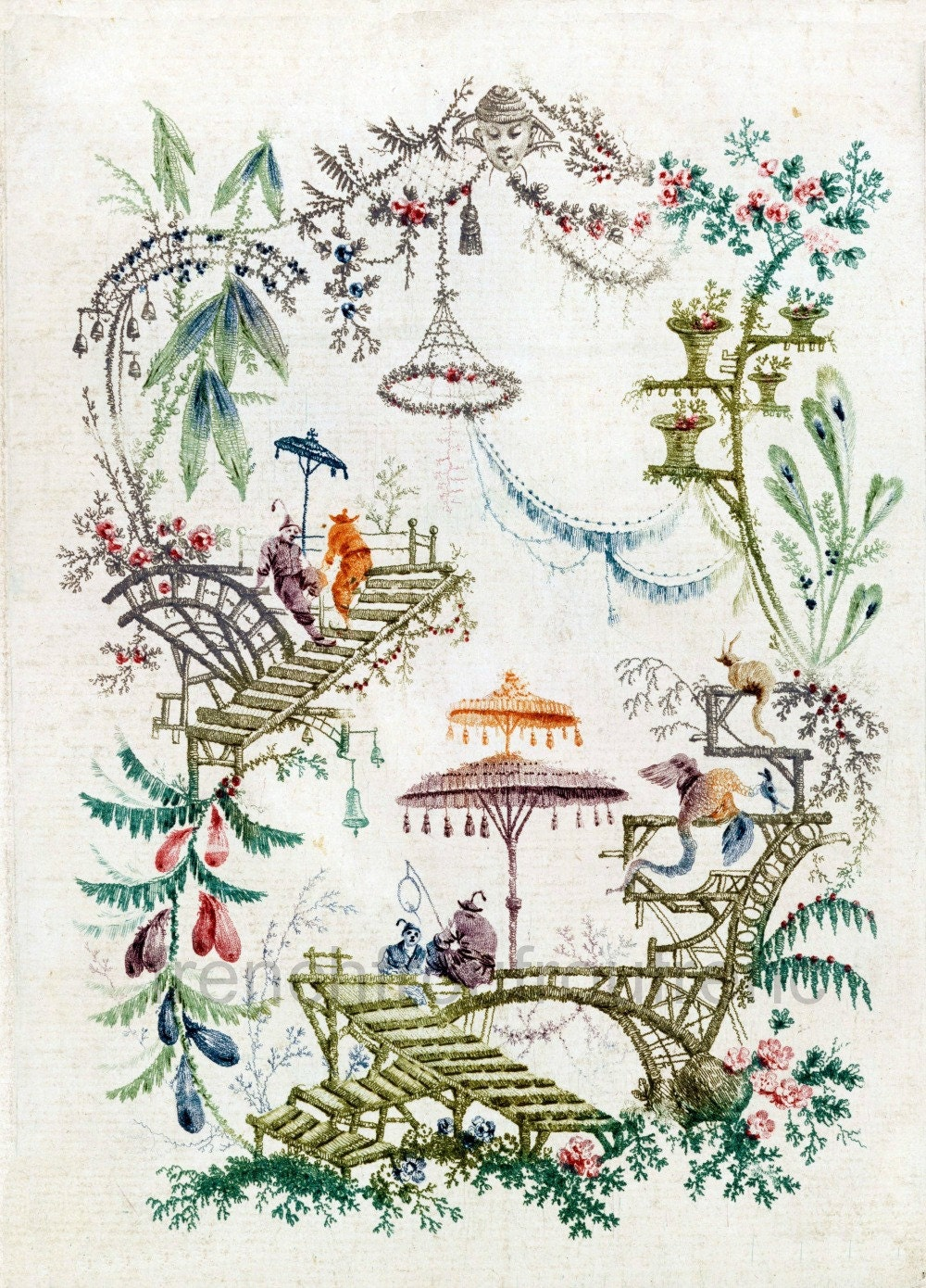 Antique chinoiserie wallpaper illustration digital download for Oriental style wallpaper uk