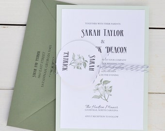 Rustic Southern Wedding Invitation, Green and Grey Floral Invitation, Twine Country Wedding - Sample