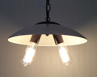 Antique CHANDELIER LIGHT Repurposed Hanging Fixture with Edison Bulbs