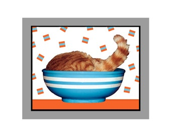 Photo Cat Tail in the Blue and White Bowl Orange Tabby Photo Card