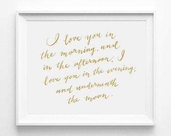 I Love You in the Morning and in the Afternoon, Skidamarkink Song, Nursery Art, Calligraphy, Typography Poster Print, Word Art, Quote, Gold